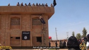 Gay men being thrown to death by ISIS.